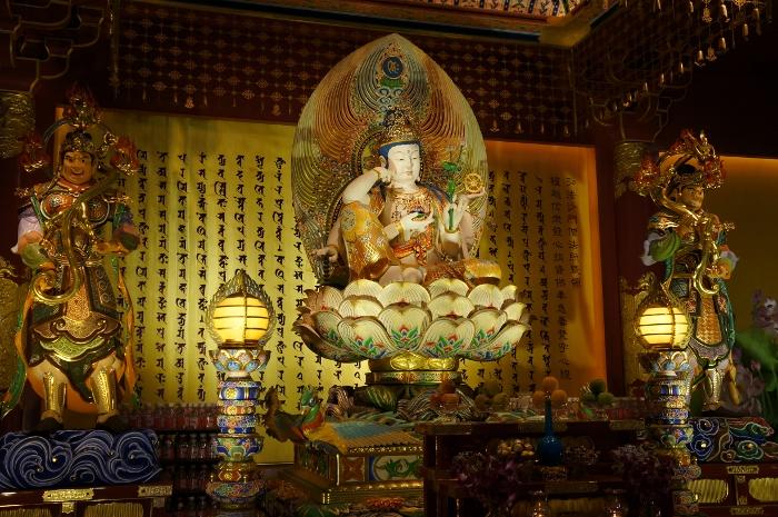 Bodhisattva Cintamanicakra Avalokitesvara sitting on a lotus throne