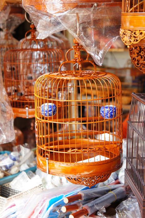 Hand-crafted bird cage with porcelain water bowls